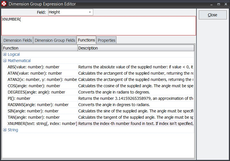 Dimension group expression editor
