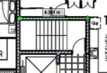 Measuring interior walls in point mode