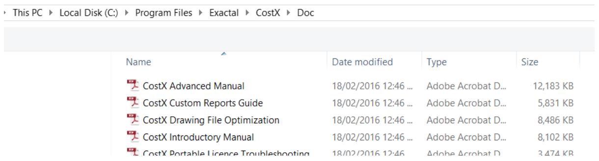 CostX additional files in Documentation folder