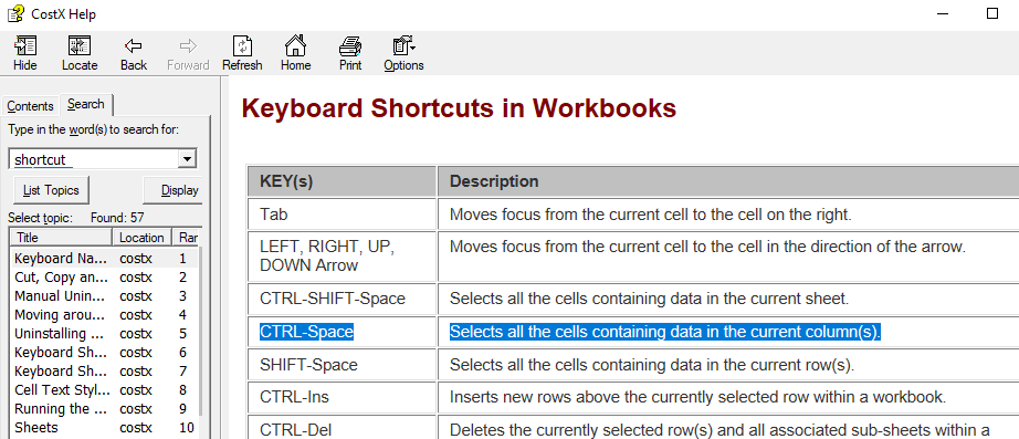 Ctrl+Space from the Workbooks keyboard shortcuts list