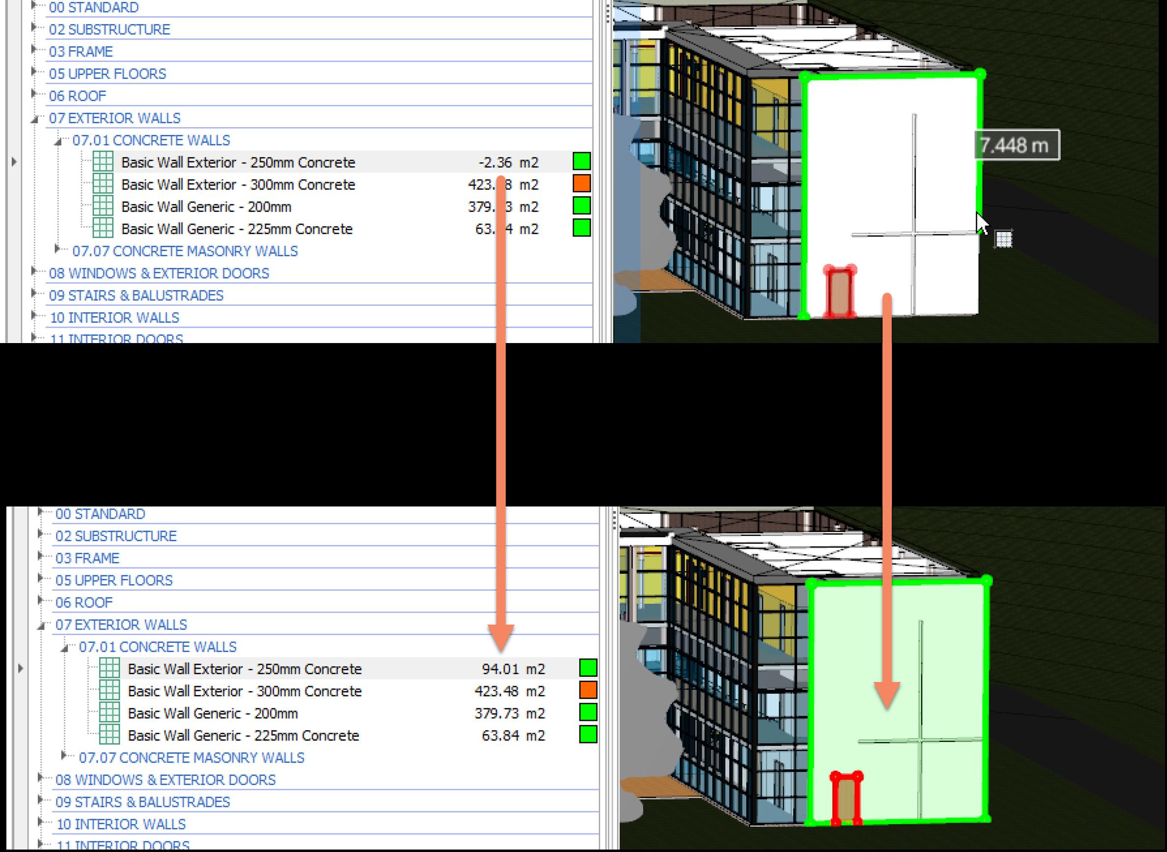 iTWO costX 3D Measure Mode Area
