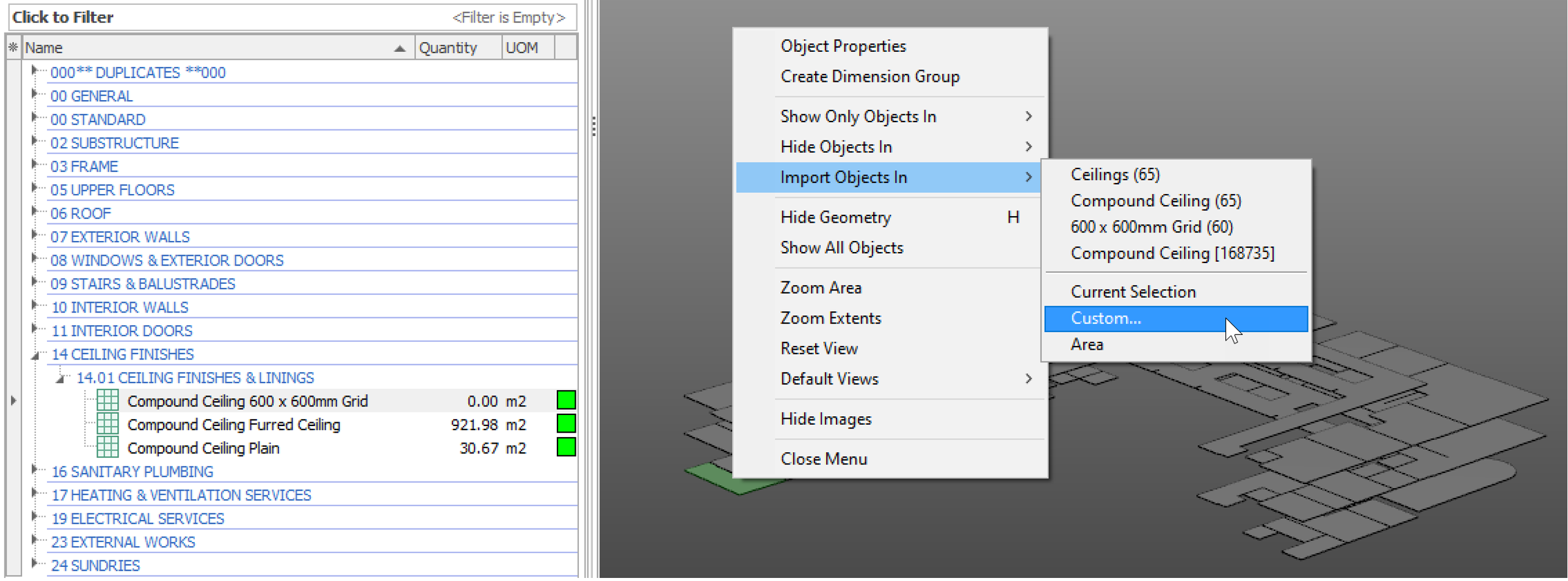 iTWO costX Selecting objects with one or more common properties